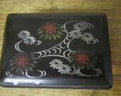 Small Black Trinket Box. Floral Design. Locking trinket secrets box.