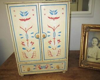 Primitive Doll's Wardrobe. Jewelry Box. Rustic doll wardrobe. Closet.