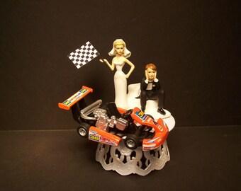 KART Die Cast Racing Flag Bride and Groom Wedding Cake Topper Funny Grooms Cake Orange Power GO Kart