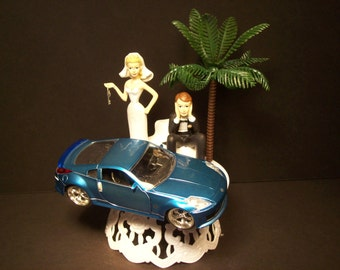 Got the Key 2003 NISSAN 350Z Blue Die-cast Car Bride and Groom Wedding Cake Topper with Palm Tree AWESOME Groom's Cake