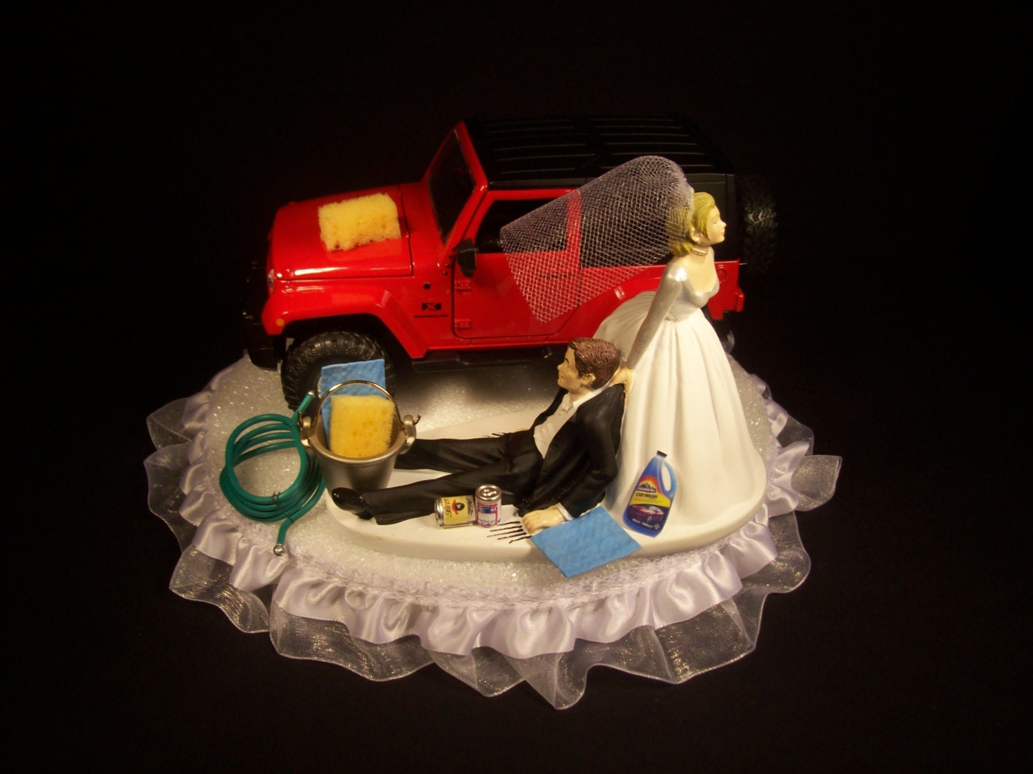 AUTO CAR Wash 2007 JEEP Rubicon Red Funny Wedding Cake Topper
