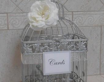 Large Silver Wedding Birdcage Card Holder / Wedding Card Box