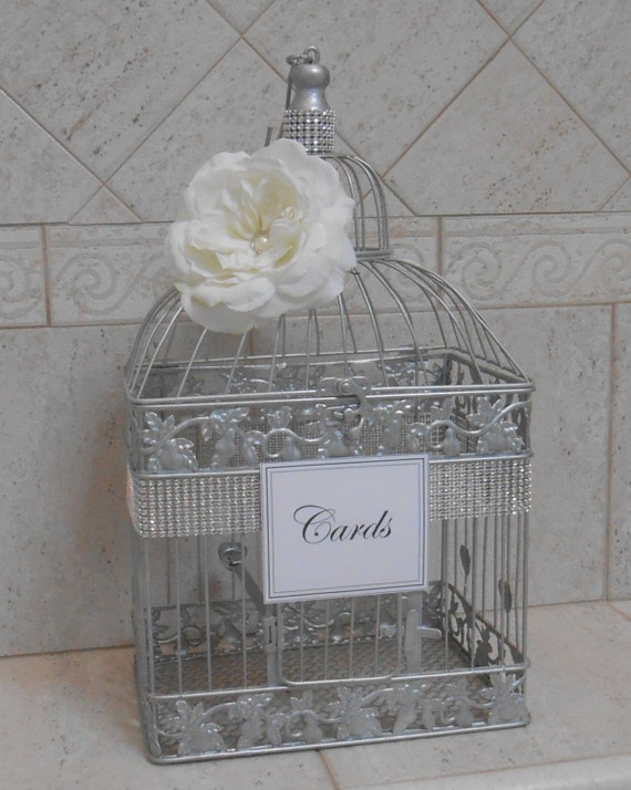 Silver Wedding Gift Card Holder : Large Silver Wedding Birdcage Card Holder / Wedding Card Box