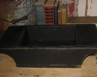 Big PRIMITIVE Wooden Dough Box Bowl Tray-Painted Antique BLACK-Country Decor-Wood