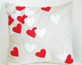 Confetti Heart Pillow Cover, Valentines Pillow, Applique heart pillow, valentines decor, valentines day home decoration, valentines pillow