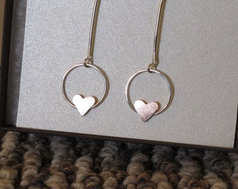 Handmade Sterling Silver Circle Heart Earrings - Sterling Silver Heart Circle Hoop Dangle
