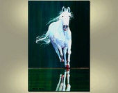 ORIGINAL HORSE Abstract Painting Large Art 24x36 Equine Wall Hangings by Thomas John