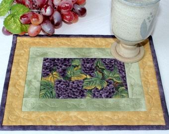 Quilted Mug Rug, Grapes Mug Rug, Fall Snack Mat, Green Purple Mug Rug, Quiltsy Handmade