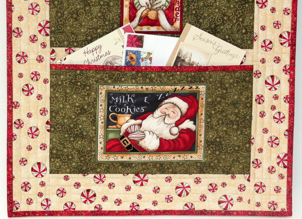 christmas card holder quilted wall hanging santa organizer