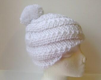 Knit Beanie, Hand Knit Spiral Beanie, Swirl Hat, Chunky Knit Beanie with Pom Pom in White