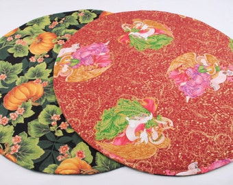 Angels Table Runner Round Table Runner Reversible, Quilted