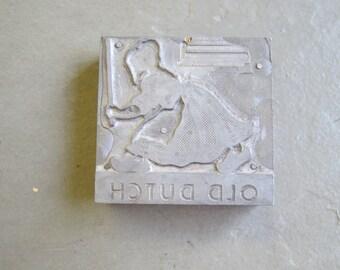 Vintage Metal Print Block Old Dutch Cleanser