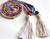 Set of 2 Patchwork Tassel Necklace Cotton Wood Scrap Twine Long Boho Statement Necklace Pink/Sky