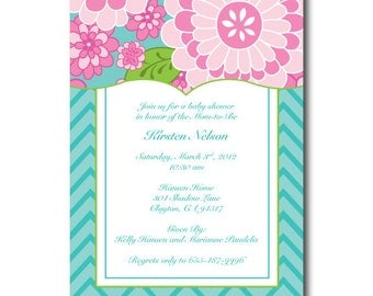Teal and Pink Floral Script Baby Shower Invitation -
