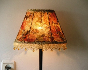Victorian Style  Flowered Velvet Table Lamp Autumn colors With Glass Beads - Antique Look