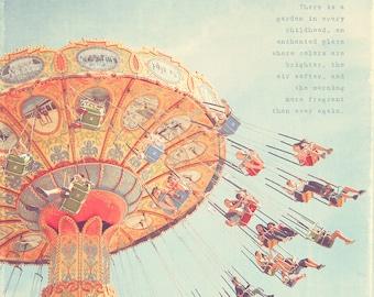 Swing Ride, Circus Art, Carnival Swing Print, Carnival Swing Photo, Carnival Swings, Carnival Swing Ride, Yellow Art, Nursery Room Art