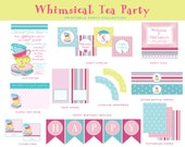 TEA PARTY, WHIMSICAL Birthday Collection, Pink and Turquoise, Printable Party Package, Tea Party Invitation and Decorations