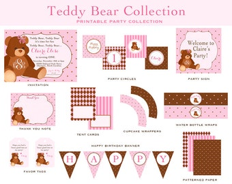 TEDDY BEAR BIRTHDAY Collection- Pink and Brown, Teddy Bear Invitation and Decorations
