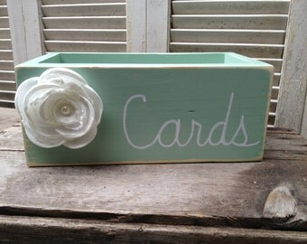 Mint and White Wedding Cards Box, Wooden Wedding Cards Holder, Distressed Wedding Box