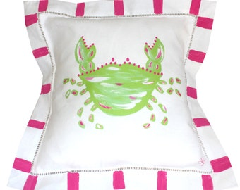 Hot Pink and Green Linen Crab Beach Pillow Beach Gift Personalized