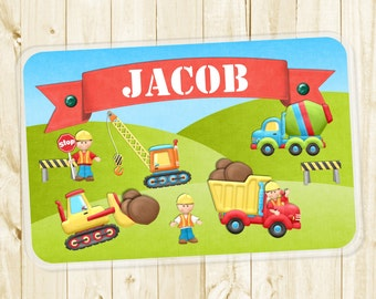 Personalized Placemat -  Construction Placemat for Boys - Dump Truck Laminated Placemat for Kids