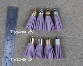 4 Lilac or Lavender Mini Cowhide Leather TASSELS in Gold, Silver, Antique Silver or Antique Brass Plated Cap(Type A or B)- Pick tassel cap