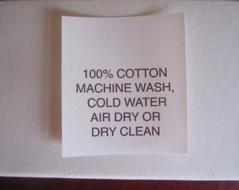 100% Cotton Garment Care Label