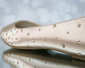 Wedding Shoes -- Blush Wedding Flats with Swarovski Crystal Starburst Design