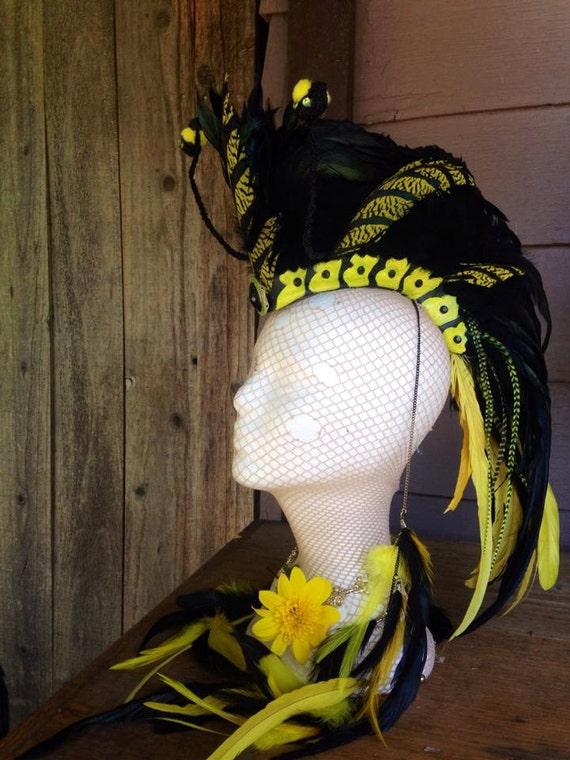 """Feather Mohawk / Headdress - """"Yellow Jacket"""" Bee Costume"""