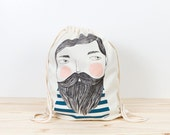Bearded - screen printed canvas backpack tote