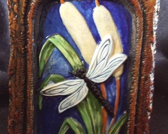 Nature Rock, Dragonfly rock, Garden ornament, Garden statue,Welcome statue, Fairy, Garden decoration, finished ceramic, Glazed ceramic