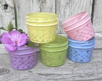Shabby Chic Mason Jars, Pastel Painted Mason Jars for Tea Light Holders, Small Vases, Wedding Favors,