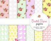 50% OFF Pastel Rose Digital Paper - vintage, shabby chic, roses, floral, Easter