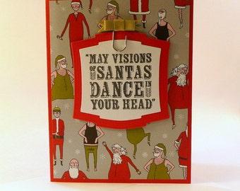 Holiday Greeting Card, Dancing Santas, hand stamped, blank inside, humorous Christmas card, Santa Christmas Card