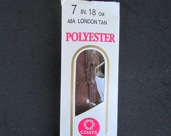 Brown Seven Inch Long Zipper