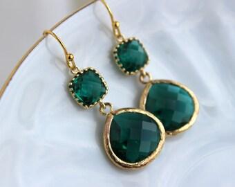 Gold Large Emerald Green Earrings Jade Jewelry - Two Tiered Earrings Emerald Bridesmaid Jewelry Hunter Green Wedding Jewelry Christmas Gift