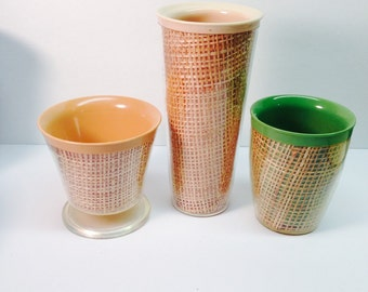 3 Raffiaware Thermo Insulated Melamine desert bowl  and Tumblers