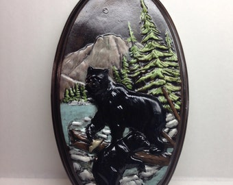 Vintage Ceramic Mother Bear and Cub  Plaque Hand Painted Holland Mold 9 x 16