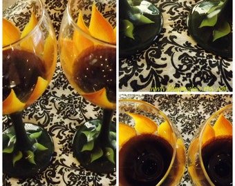 Set of Two Large Sunflower Wine Glasses