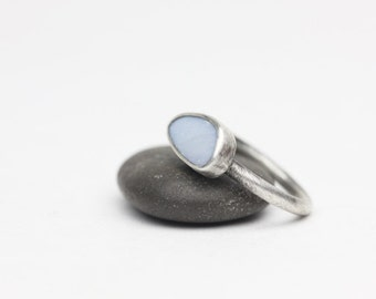 Opal Ring, Sterling Ring, Freeform Stone, Pale Blue, Green Fire, October Birthstone, Size 8