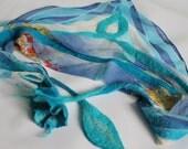 Nuno felted scarf / shawl - Blue flower