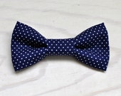 Navy Pin dot Bowtie for Newborn Infant Toddler Youth - navy blue pindot bow tie groomsmen, birthday, photo prop, father son sets, siblings