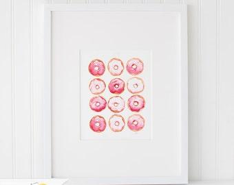 Watercolor Doughnuts, Watercolor Painting, Wall Art Print - Art Drawing Watercolor Print - 5x7, and 8x10