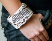 Wooden bangle, neutral bracelet, woodland and natural history, white, grey, black, floral pattern