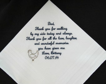 Father of the Bride Wedding Handkerchief Embroidered