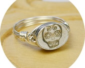 Sugar Skull Ring- Sterling Silver Filled Wire Wrapped Ring with Pewter Bead- Any Size 4, 5, 6, 7, 8, 9, 10, 11, 12, 13, 14
