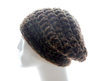 Wool - Blend Beanie, Slouchy Hat, Men's Crochet Beanie in Brown and Green Bulky Yarn, Medium Size