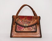 Hand Painted Tooled Leather Handbag 1950s Vintage