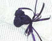 Purple  Ivory Garter  Silk and Lace with Rosettes and Swarovski Crystals