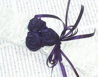 Purple & Ivory Garter - Silk and Lace with Rosettes and Swarovski Crystals